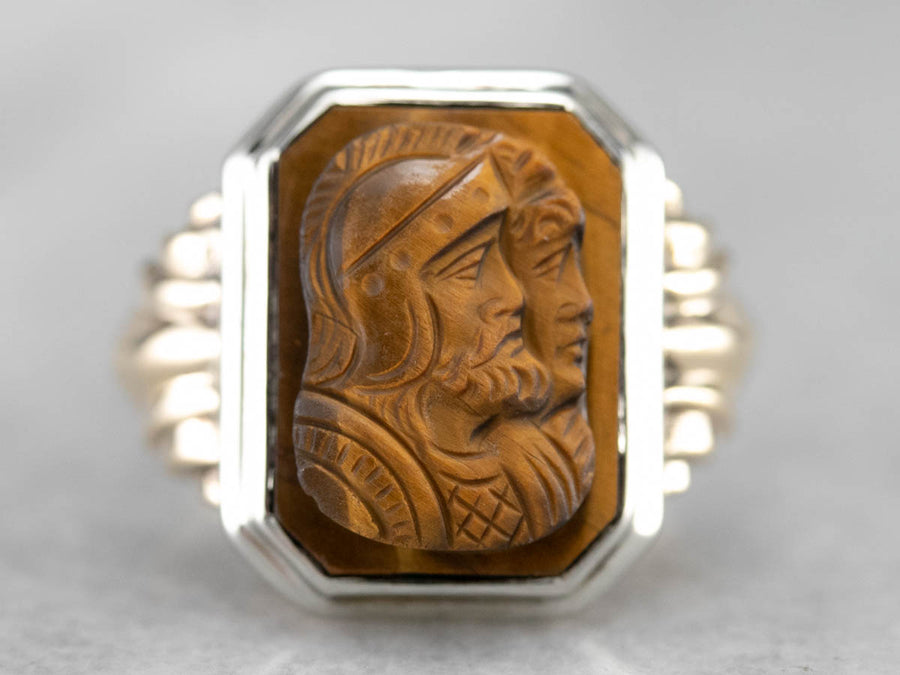 Unisex Tiger's Eye Cameo Gold Ring