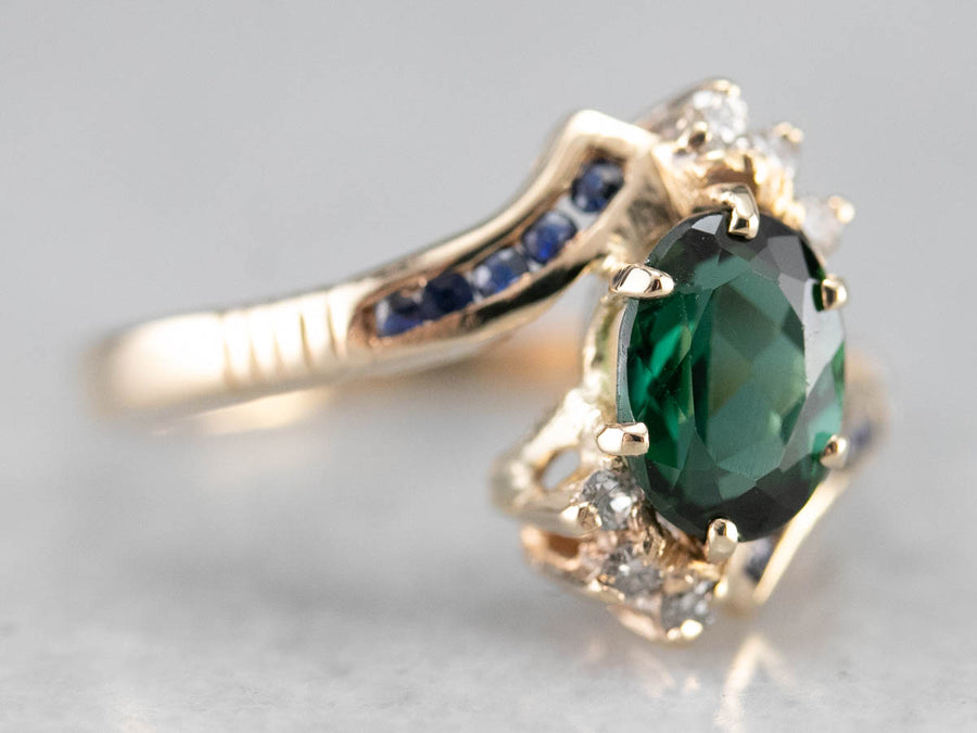 Green Tourmaline Sapphire and Diamonds Bypass Ring