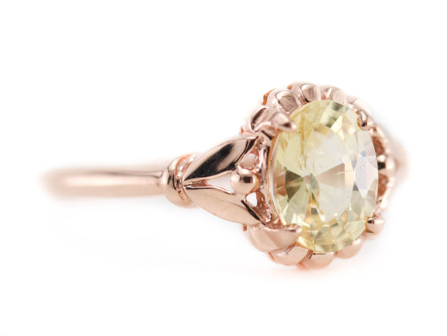 Rose Gold Yellow Sapphire Abigail Ring by Elizabeth Henry