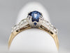 Retro Ceylon Sapphire and Diamond Ring