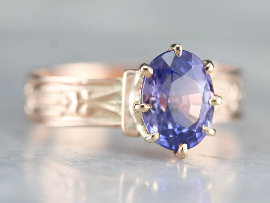 Rose Gold Victorian Sapphire Solitaire Ring