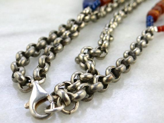 Sodalite and Glass Beaded Antique Silver Chain Necklace