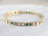 Gold Emerald and Diamond Link Bracelet