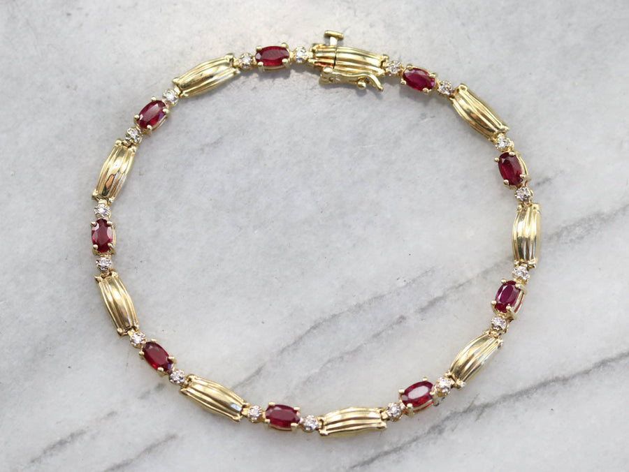 Gold Ruby and Diamond Tennis Bracelet