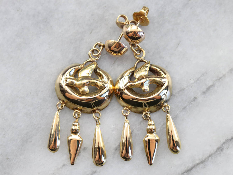 Vintage Golden Sparrow Tassel Earrings