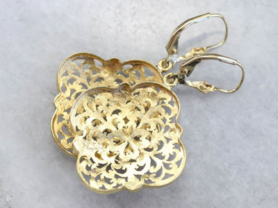Fine Gold Filigree Drop Earrings