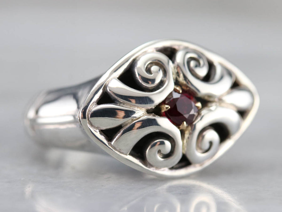 Tribal Style Silver and Gold Ruby Ring