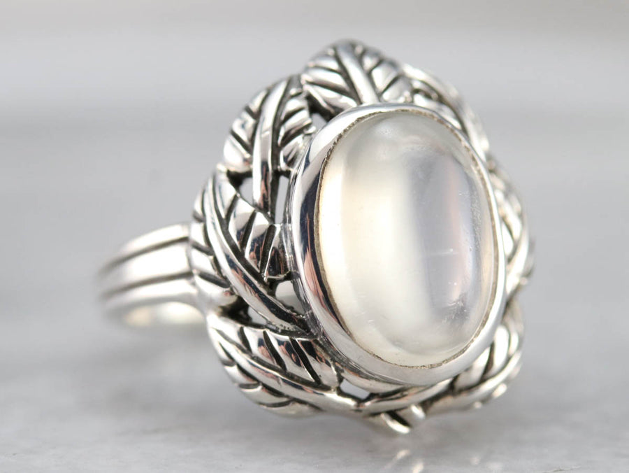 Botanical Moonstone Cocktail Ring