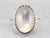 Twisted Silver Framed Moonstone Ring