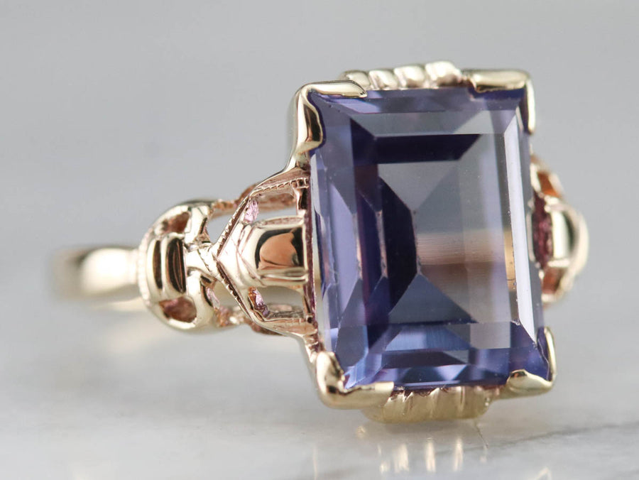 Retro Era Synthetic Alexandrite Ring