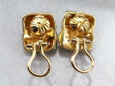 Woven Gold and Diamond Stud Earrings