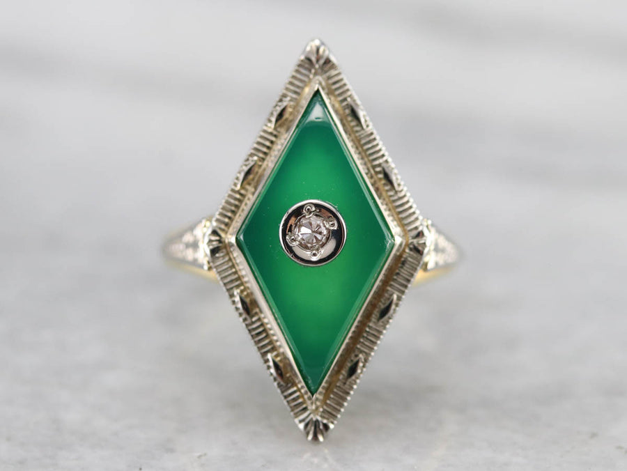 Art Deco Green Onyx and Diamond Ring
