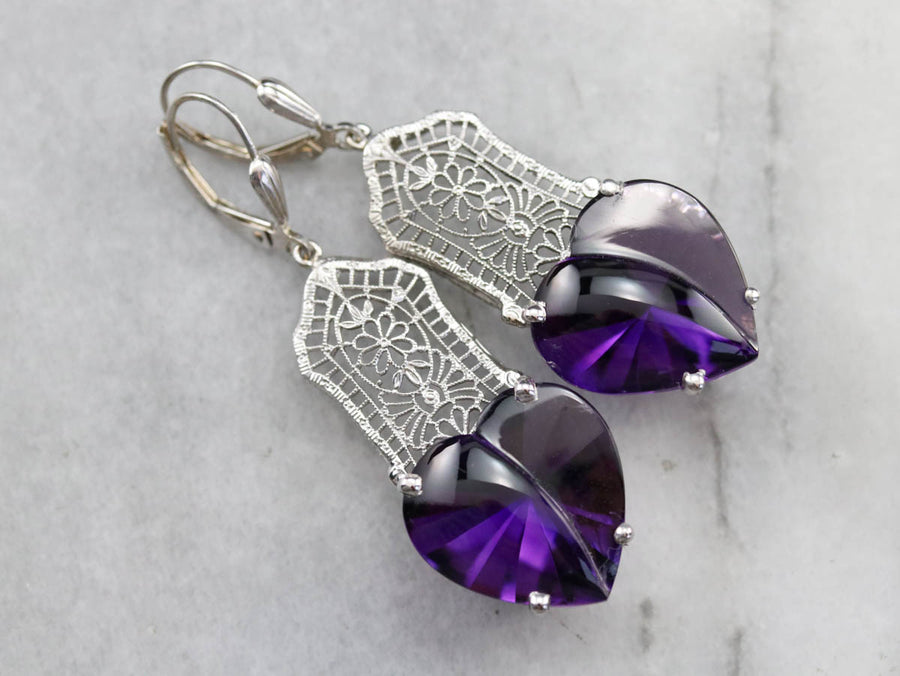 Stunning Amethyst Heart Drop Earrings