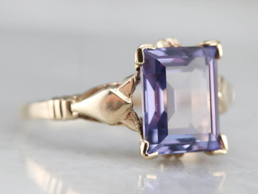 Retro Synthetic Alexandrite Ring