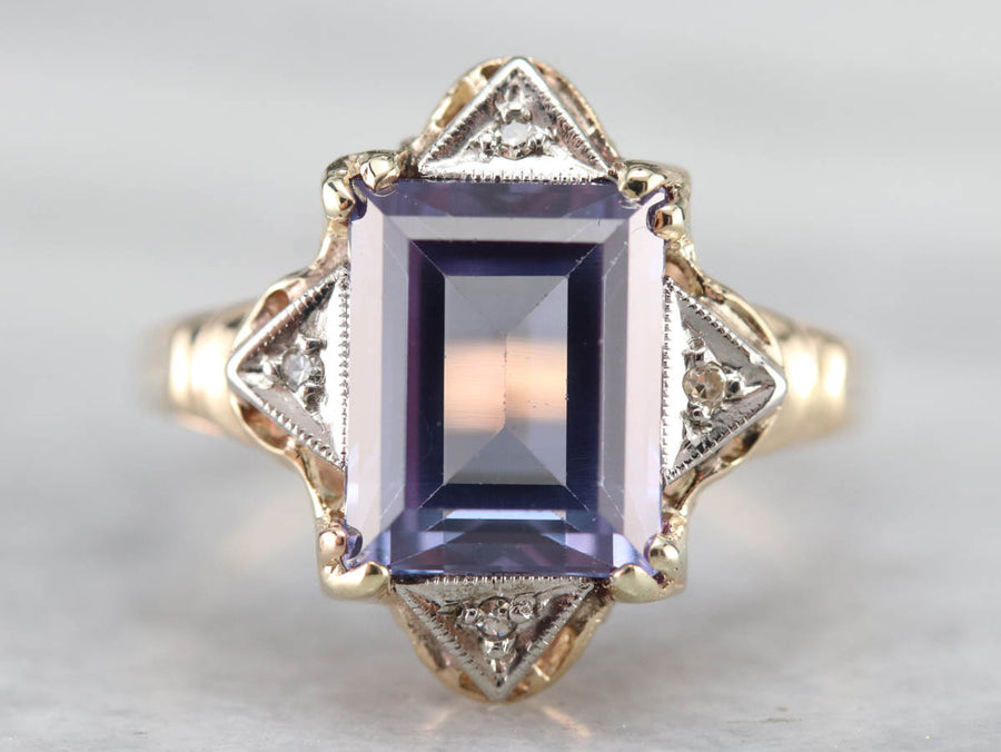 Retro Era Synthetic Alexandrite and Diamond Ring