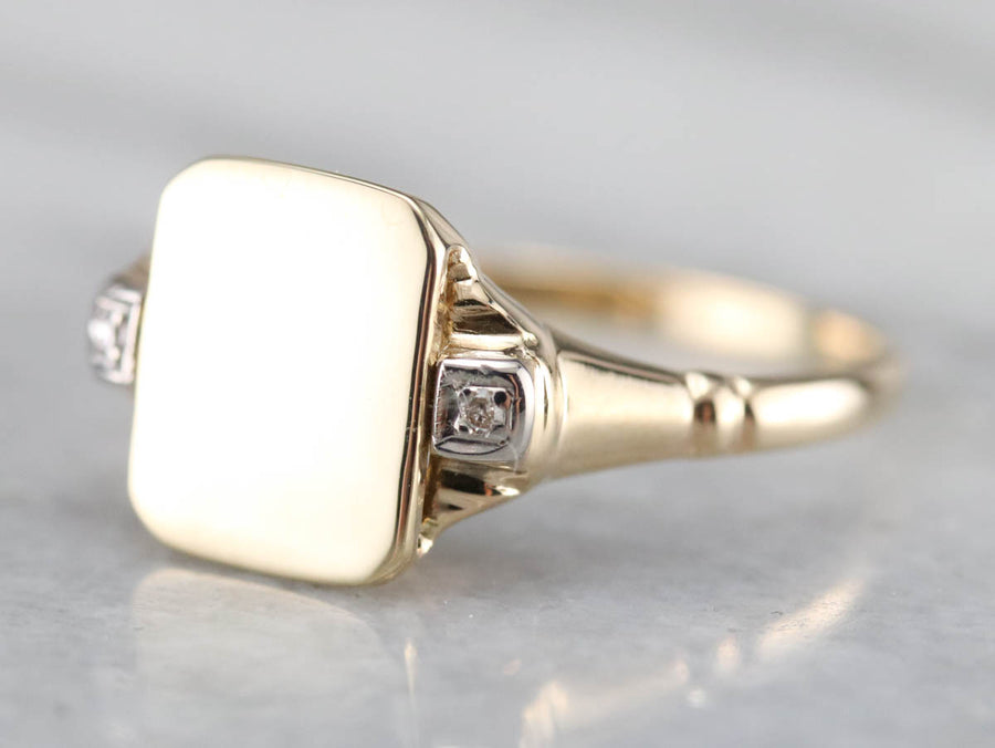 Retro Era Diamond Signet Ring