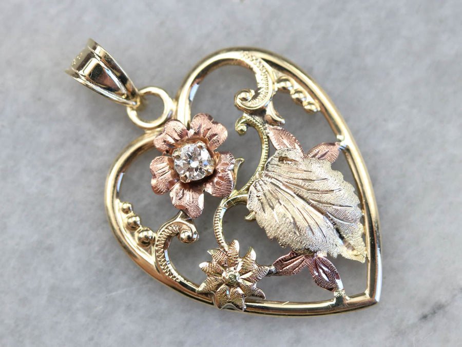 Retro Floral Diamond Heart Pendant
