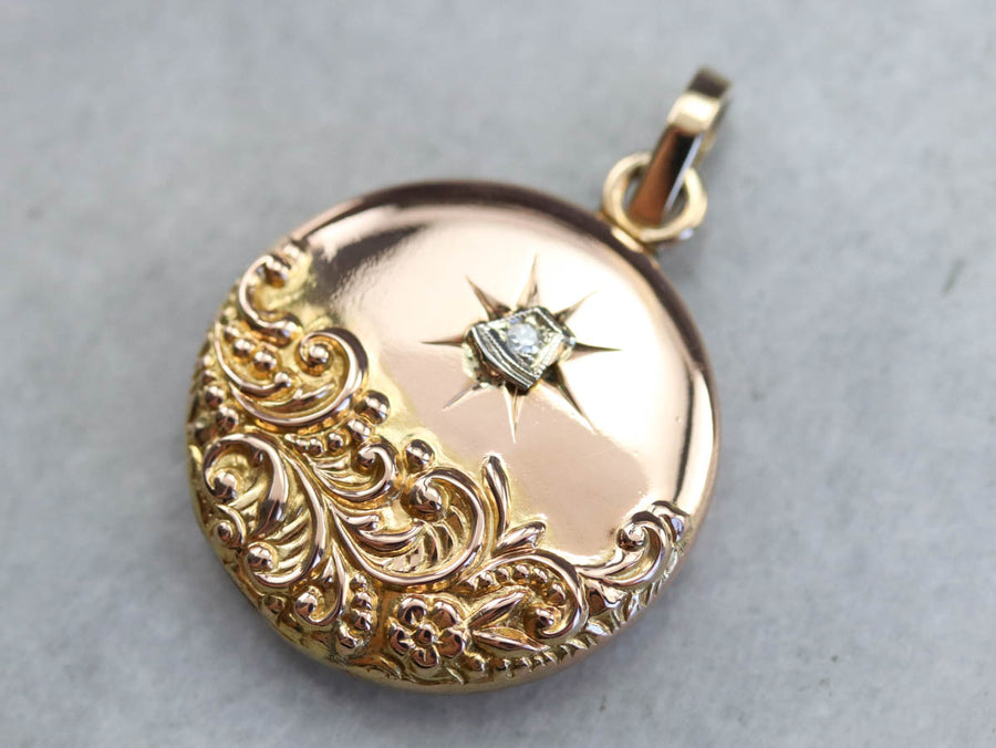 Ornate Diamond Monogramed Locket