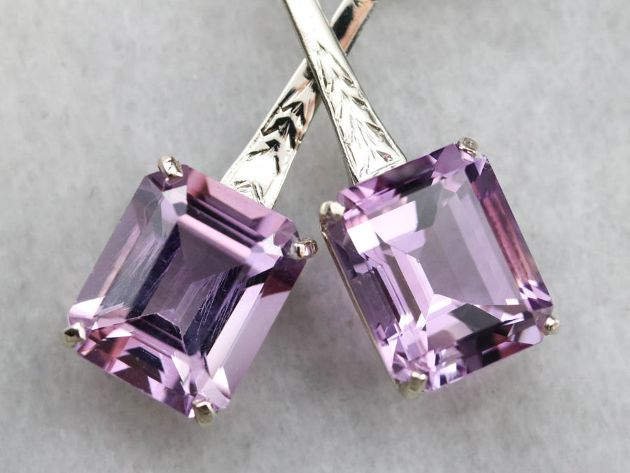 Engraved Amethyst Drop Earrings