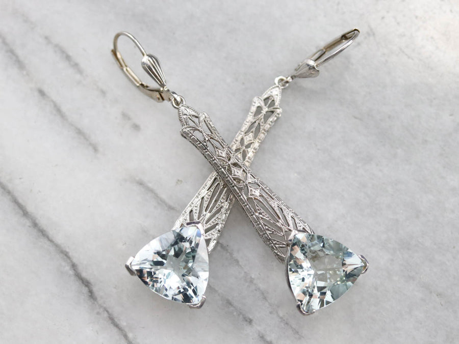 Art Deco Aquamarine Drop Earrings