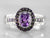 White Gold Amethyst and Diamond Halo Ring