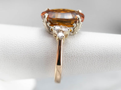 Two Tone Gold Citrine and Diamond Cocktail Ring,