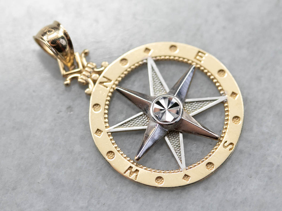 Vintage Compass Rose Pendant in Two Tone Gold
