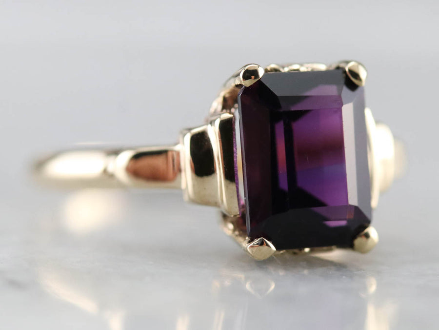 Retro Era Amethyst Solitaire Ring