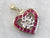 Floral Diamond and Ruby Heart Pendant