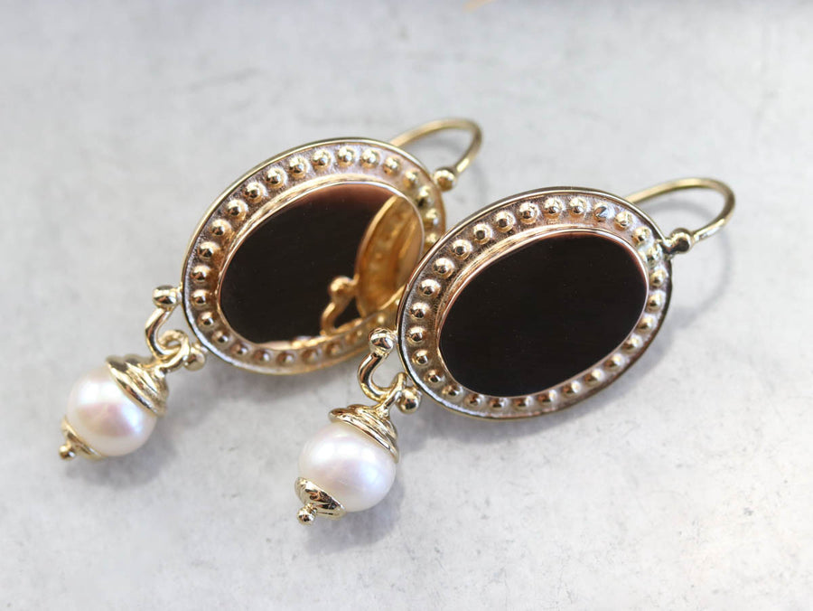 Vintage Yellow Gold and Pearl Drop Earrings