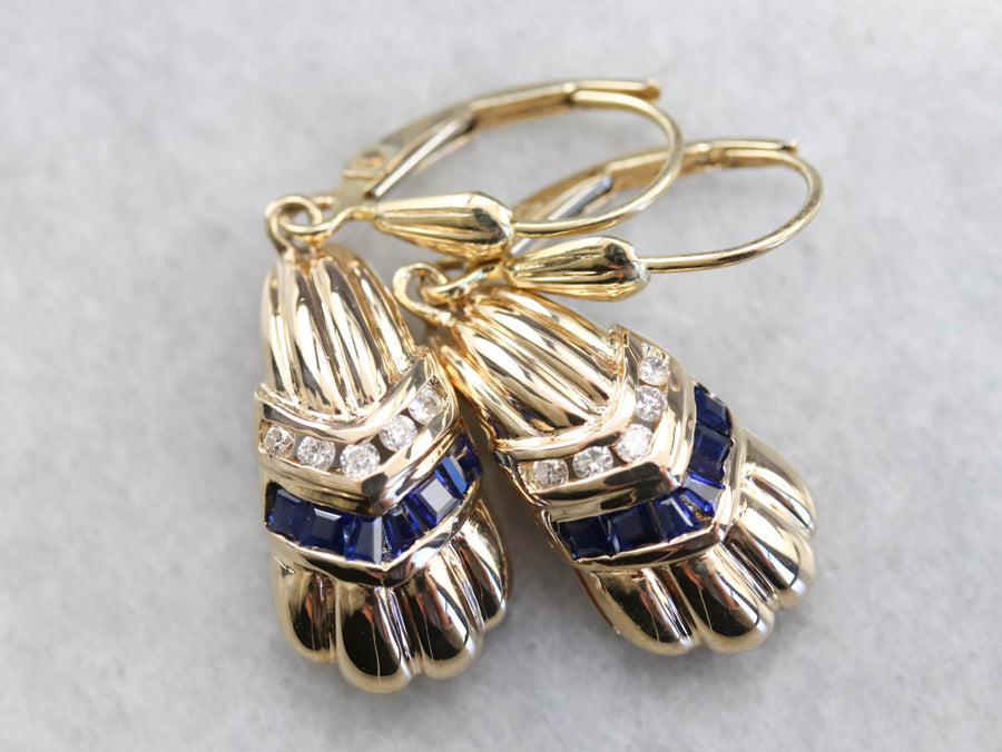 Vintage Diamond and Sapphire Drop Earrings