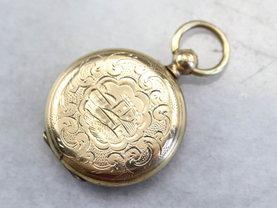 Antique Gold Fill Locket Pendant