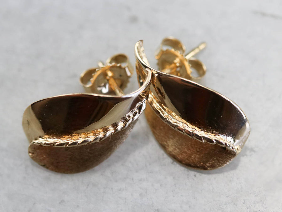 Yellow Gold Leaf Stud Earrings