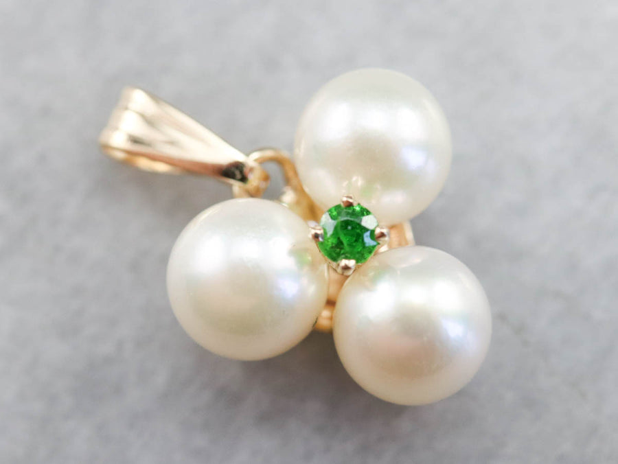 Emerald and Pearl Pendant