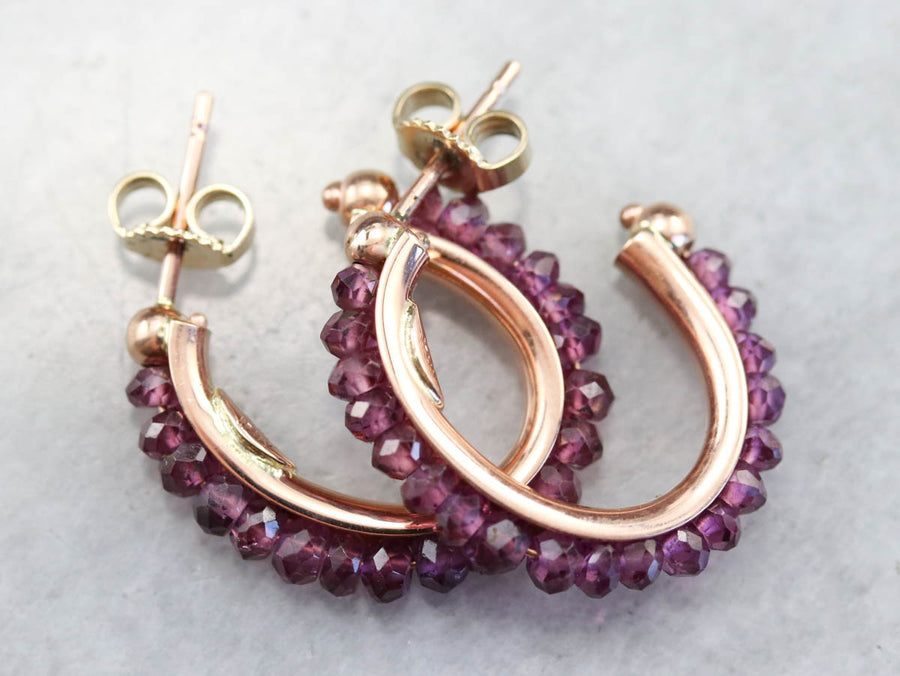 Rose Gold Beaded Garnet Earrings