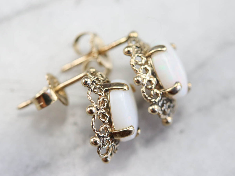 Opal Filigree Stud Earrings