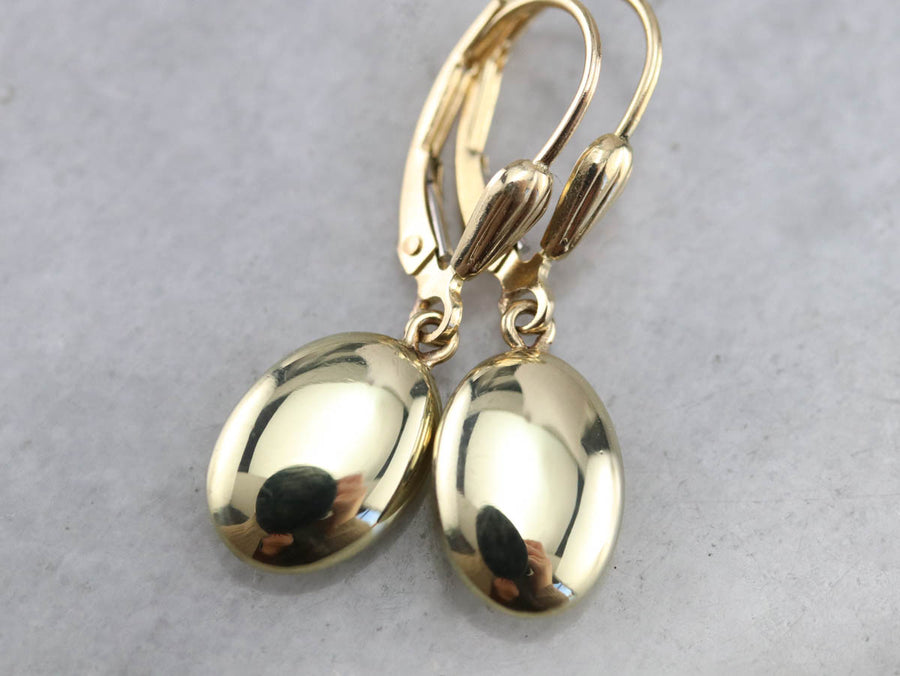 Plain Gold Oval Drop Earrings