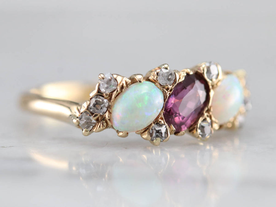 Victorian Pink Sapphire Opal and Old Mine Cut Diamond Ring