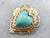 Vintage Turquoise and Diamond Heart Pendant