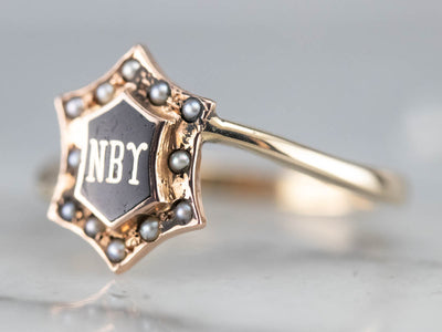 Antique NBY Enamel and Seed Pearl Ring