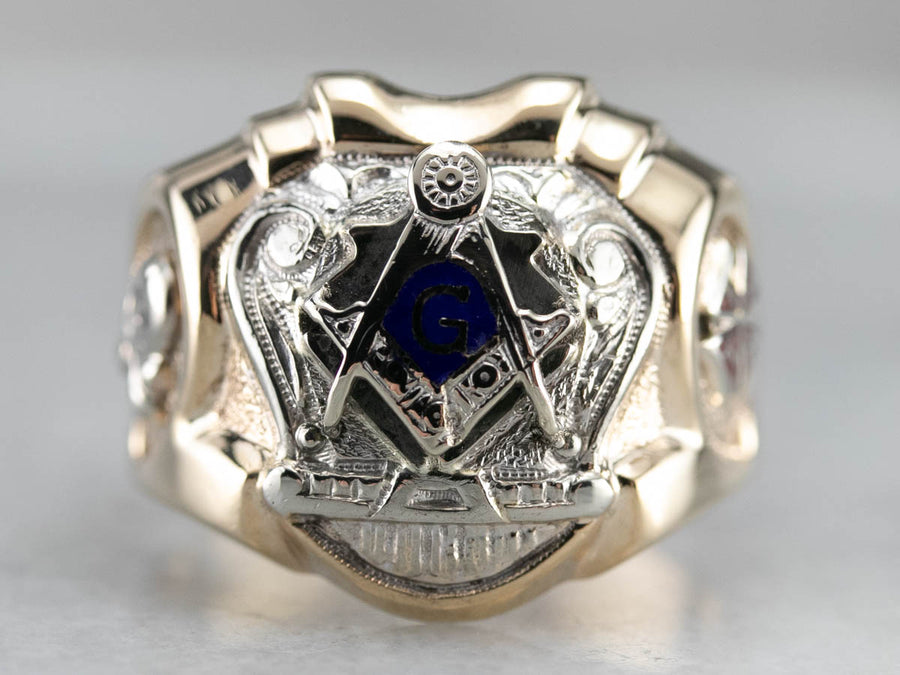 Men's Robust Two Toned Masonic Ring