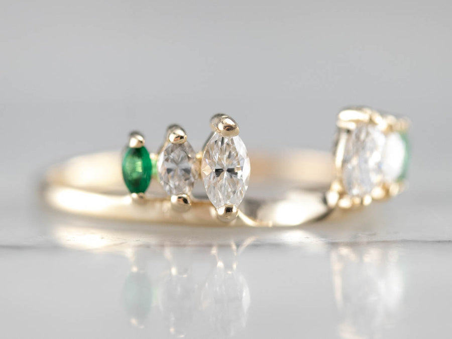 Marquise Emerald and Diamond Band
