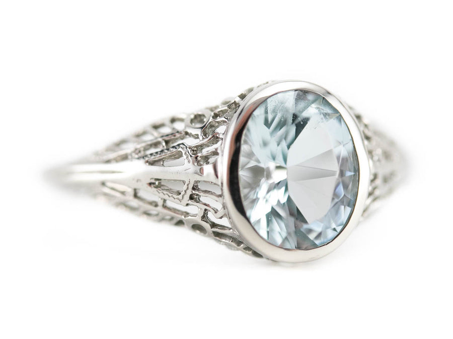 The Nola Aquamarine Filigree Ring by Elizabeth Henry