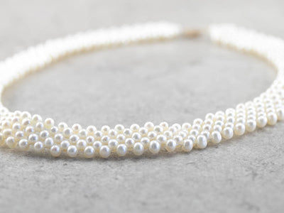 Woven Pearl Beaded Collar Necklace