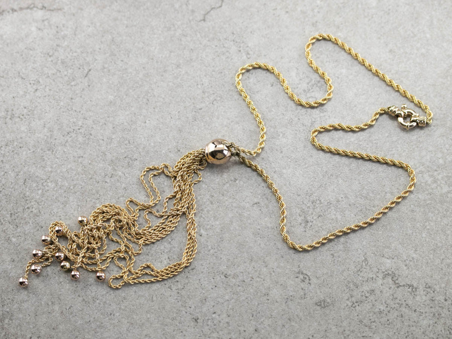 Gold Tassel Chain Necklace