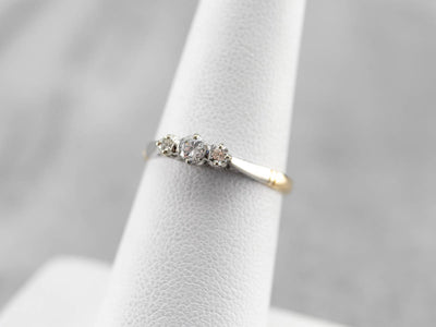 Retro Era Two Tone Diamond Engagement Ring