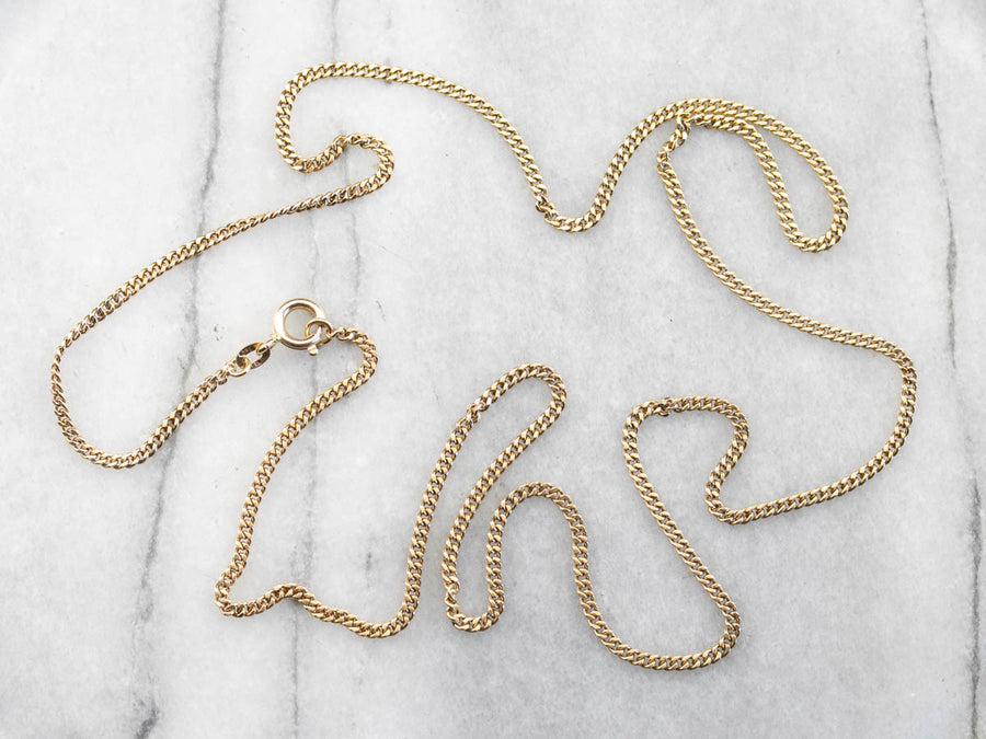 High 18 Karat Gold Curb Link Chain Necklace