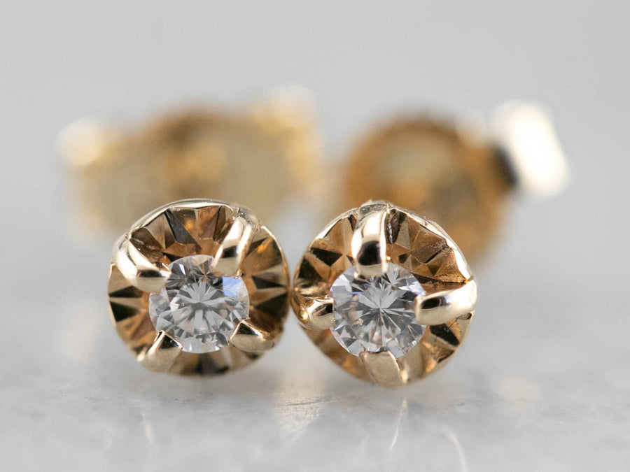 Small Buttercup Diamond Stud Earrings