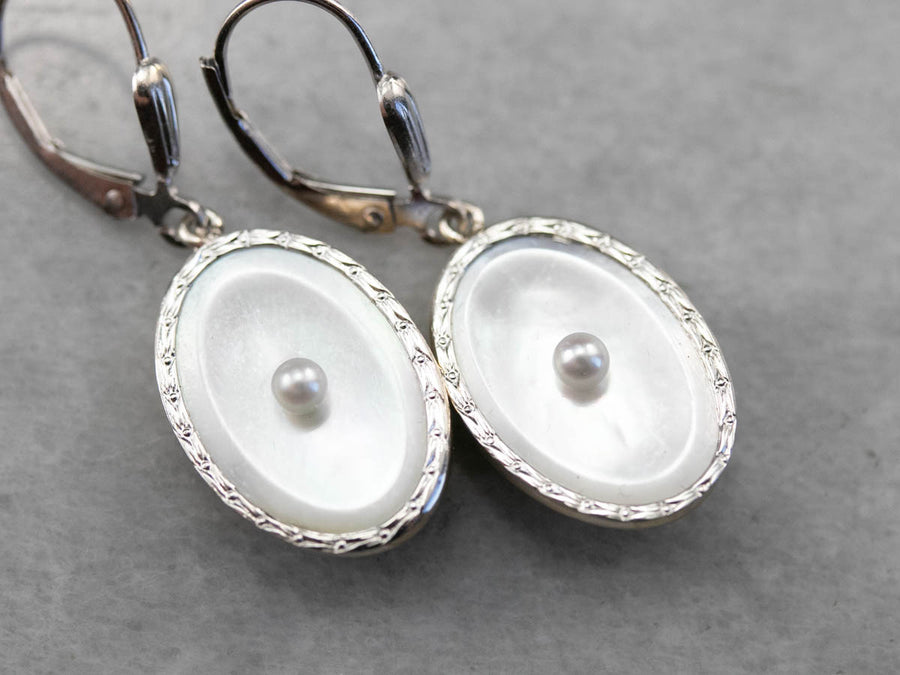 Retro Mother of Pearl and Seed Pearl Drop Earrings