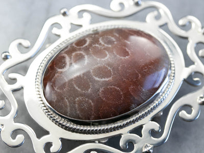 Fossilized Coral Sterling Silver Belt Buckle